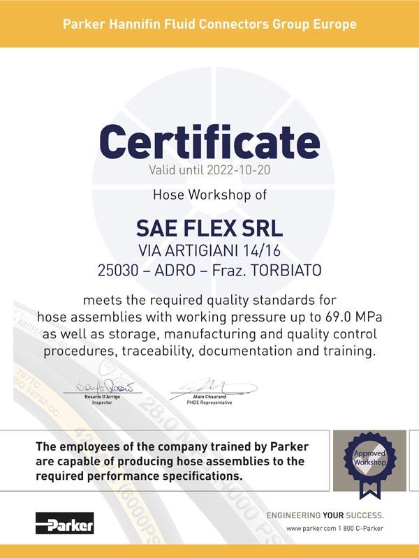 Sae Flex Certificato Parker